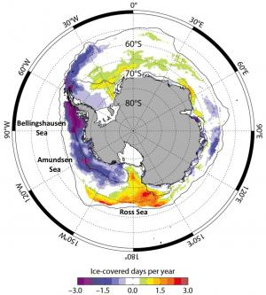 Trend in the length of the sea ice season, 1979-2010. Blue and purple areas show areas where sea ice is declining, orange and red where it is increasing. Source: Maksym et al., 2012</a