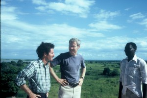 Drs. Paul Epstein (left) and Steve Gloyd, and a Mozambican colleague in Caia, Mozambique, in 1978 (Figure 1 from book)