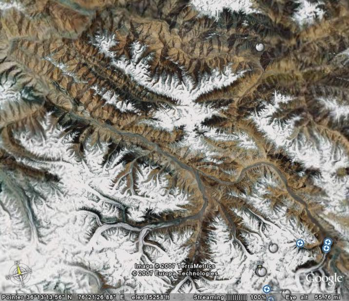 Satellite view of the Himalayas