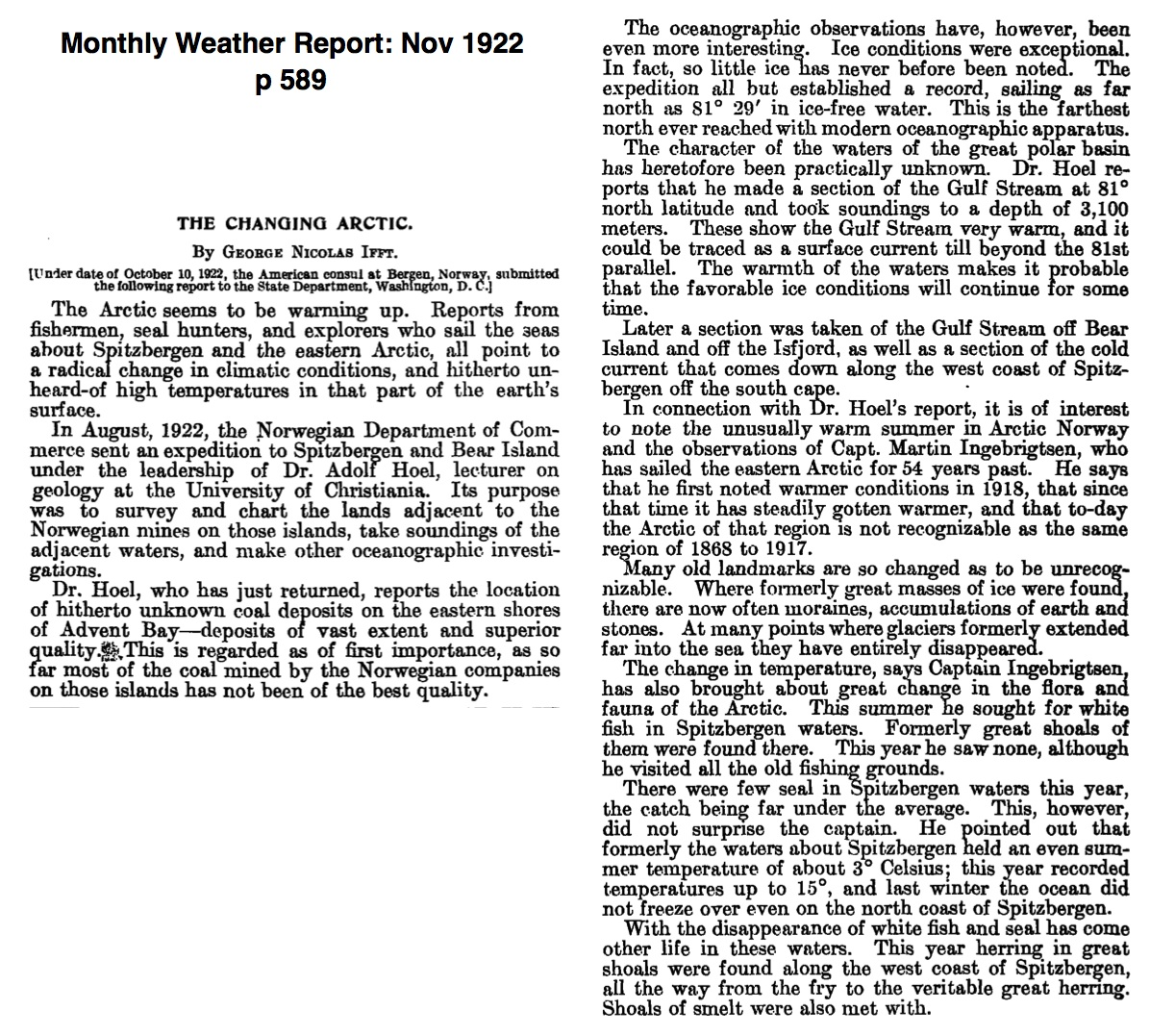 small article on global warming