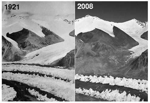 East Rongbuk glacier 1921 and 2008