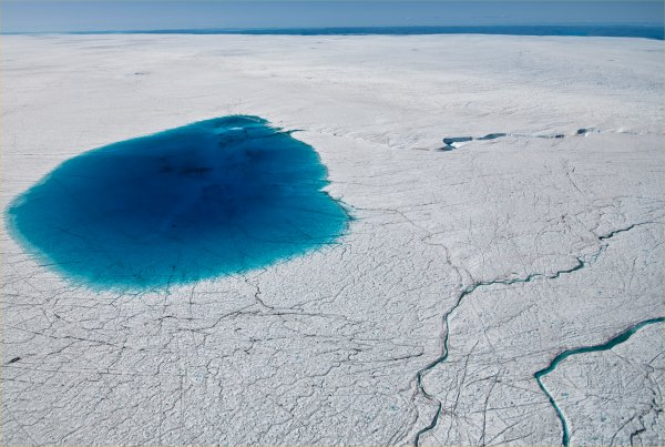 Getting soft? Meltwater on the Greenland Ice Sheet. Photo by Ian Joughin.