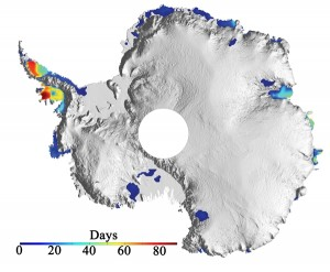 Map of Antarctica showing number of melting days in summer 2008-2099.